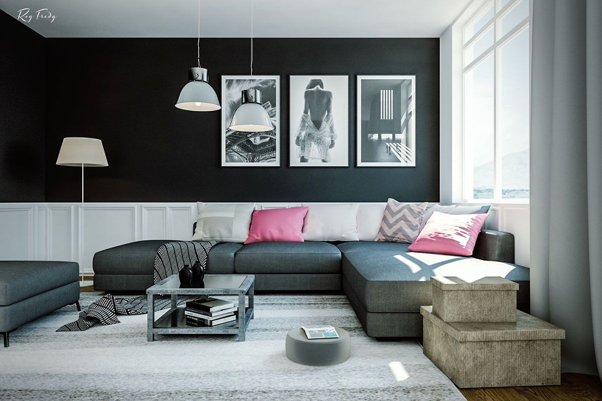 Black and white and pink living room - Black Color Show An Exotic Living Room Decorating Ideas