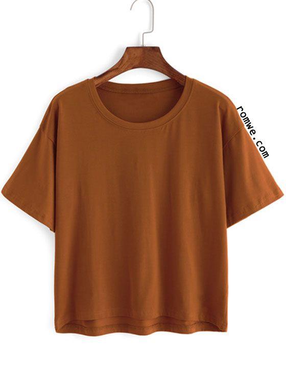 Crew Neck Loose Khaki T-shirt