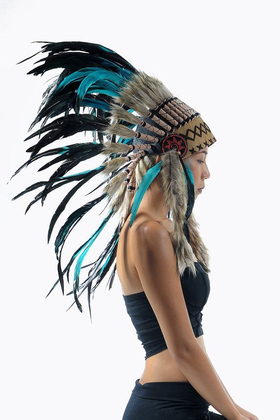 Black Feather headdress, medium length, chief warbonnet, Indian style headdress, native american inspired war bonnet