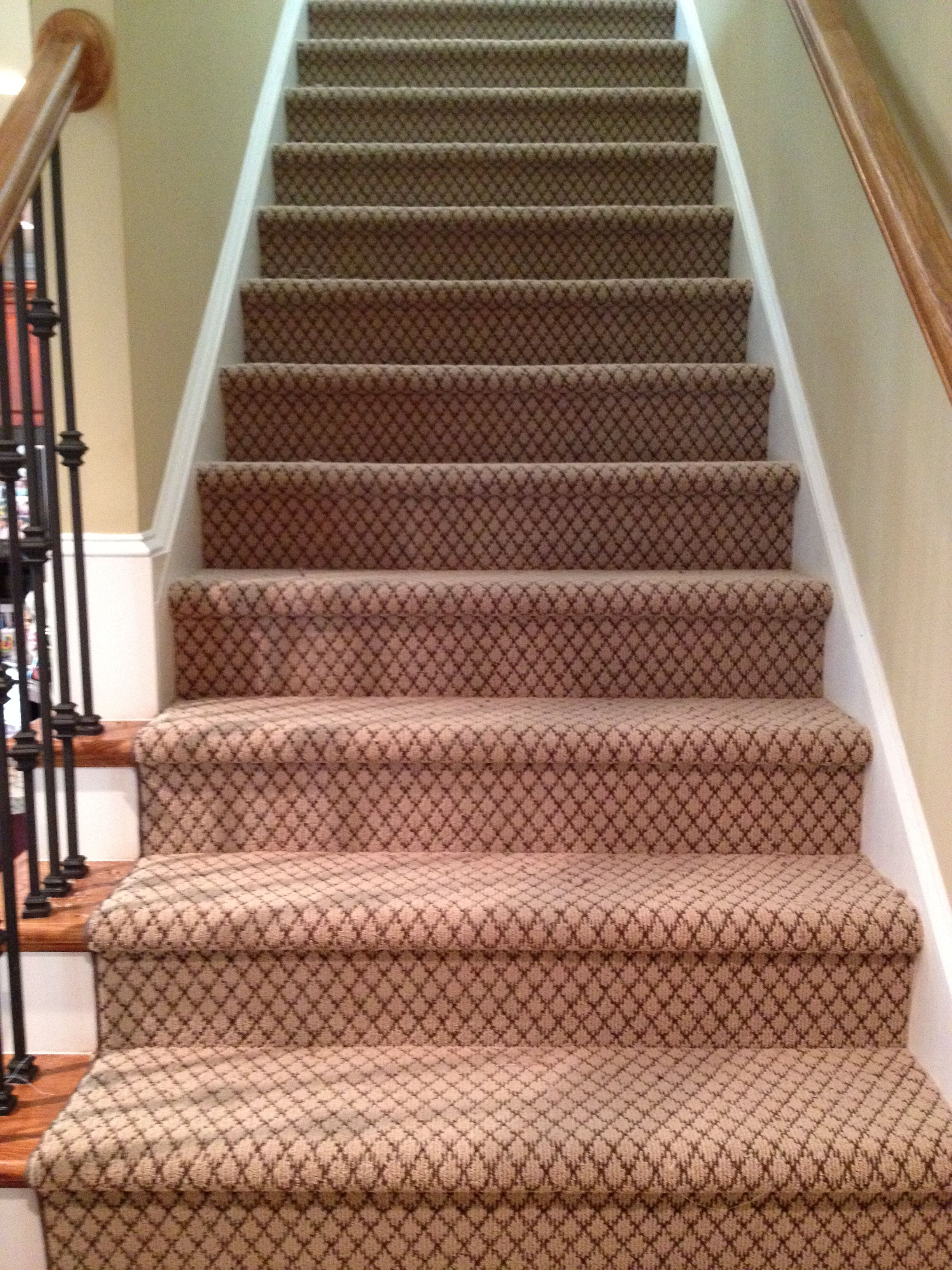 Stair Runner We Installed Yesterday Masland Tristan Color Latte How Did They Do This Patterned Stair Carpet Stair Runner Best Flooring