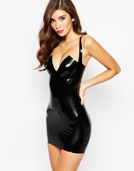 Black latex mini dress with deep V neckline and wide-set shows off shoulders  and fcf324c053