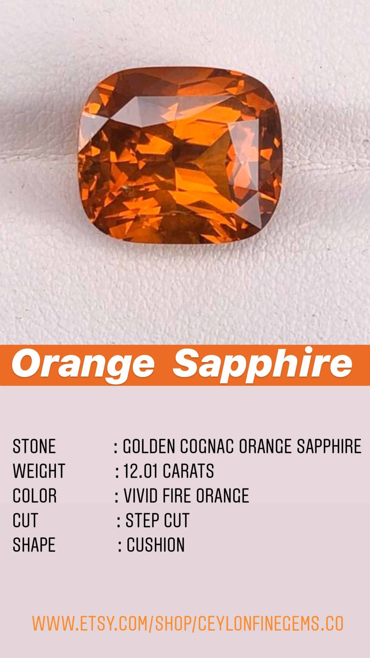 Mekong Whisky Sapphire 12 Carats Cushion Shape Orange Sapphire Cognac Sapphire Engagement Ring Gemstones For Jewelry Making In 2020 Orange Sapphire Gemstone Gifts Engagement Rings Sapphire