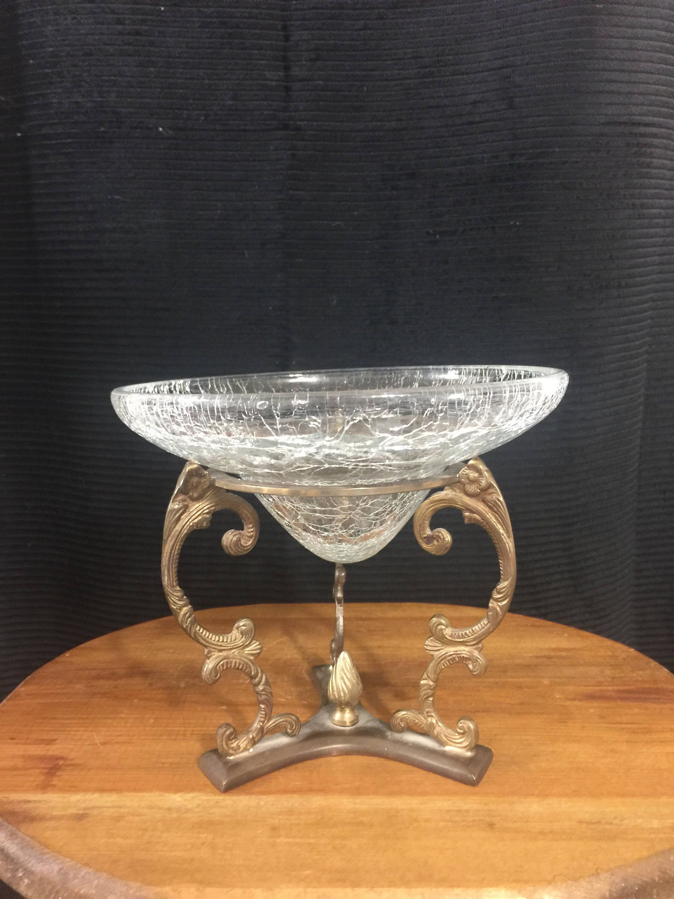 Vintage brass pedastal with heavy cracked glass bowl