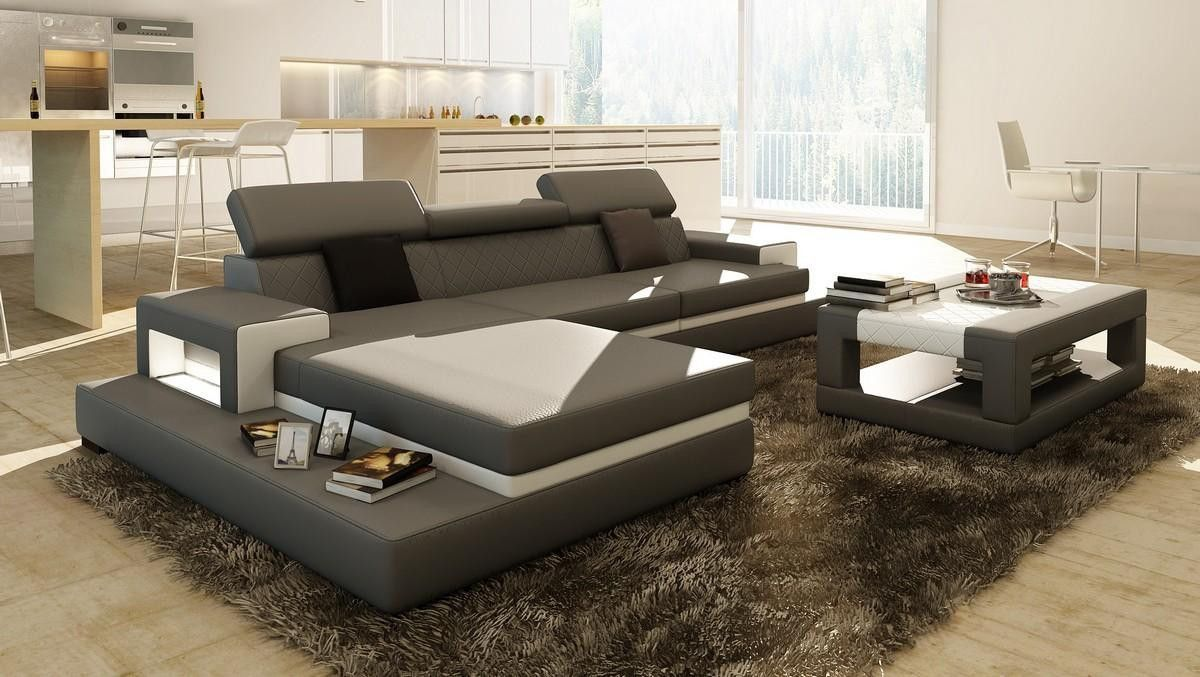Loft Grey and White Leather Sectional Sofa w/Coffee Table | Leather ...