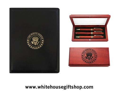 """The White House Presidential Folio Set, Two Rosewood Pens, One Mechanical Pencil Set, Display & Presentation Case, Felt Lined, Hinged, Padfolio Holds 8.5"""" x 11"""" Tablet. Enter Promo Code """"PIN"""" for 10% off your entire order!"""