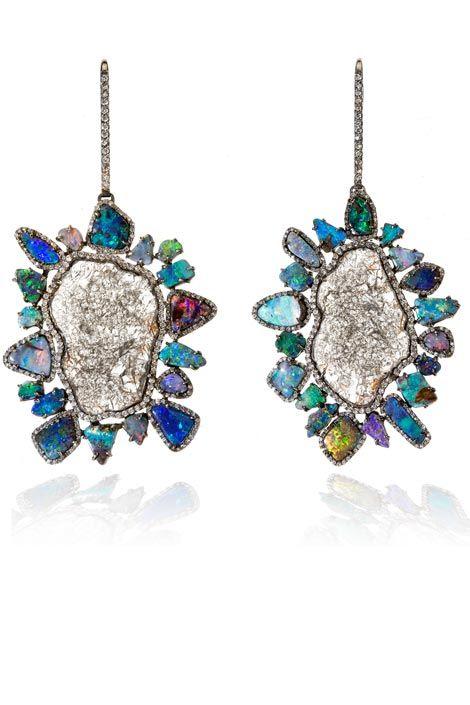 Blue and Gold Opal and Diamond Earrings Kimberly McDonald EBf3OT6ho