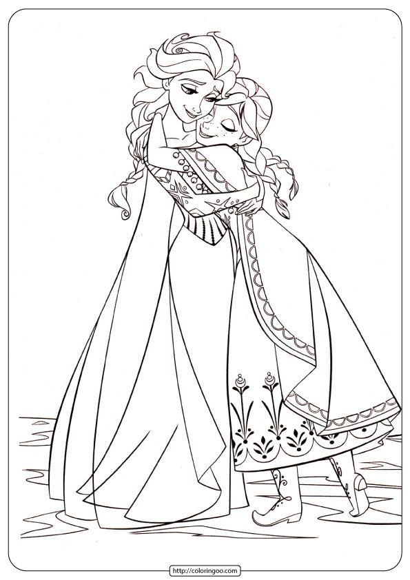 Anna And Elsa PDF Coloring Pages Frozen Para Colorear, Páginas Para  Colorear Disney, Dibujos De Frozen