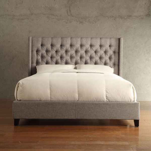 INSPIRE Q Naples Gray Linen Wingback Button Tufted Platform Bed    Overstock™ Shopping   Great Deals On INSPIRE Q Beds