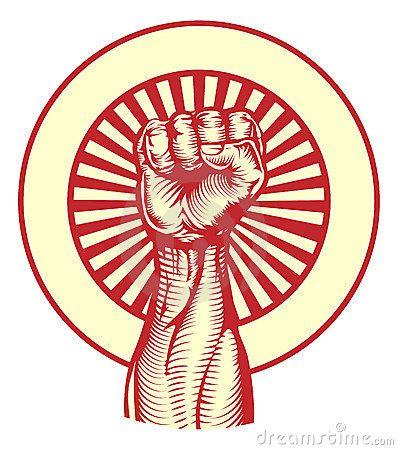 Punho soviético do estilo do poster da propaganda