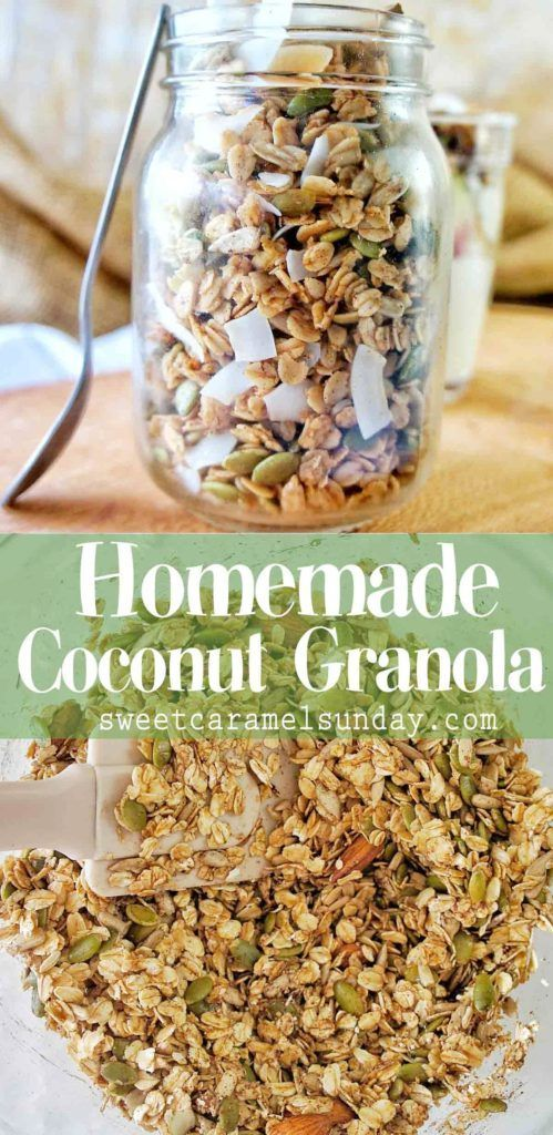 Make this healthy Coconut Granola by toasting healthy ingredients in the oven. For a delicious and homemade breakfast granola. @sweetcaramelsunday