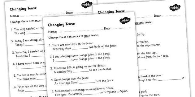 Changing Tense Worksheets - changing tense, past future present ...