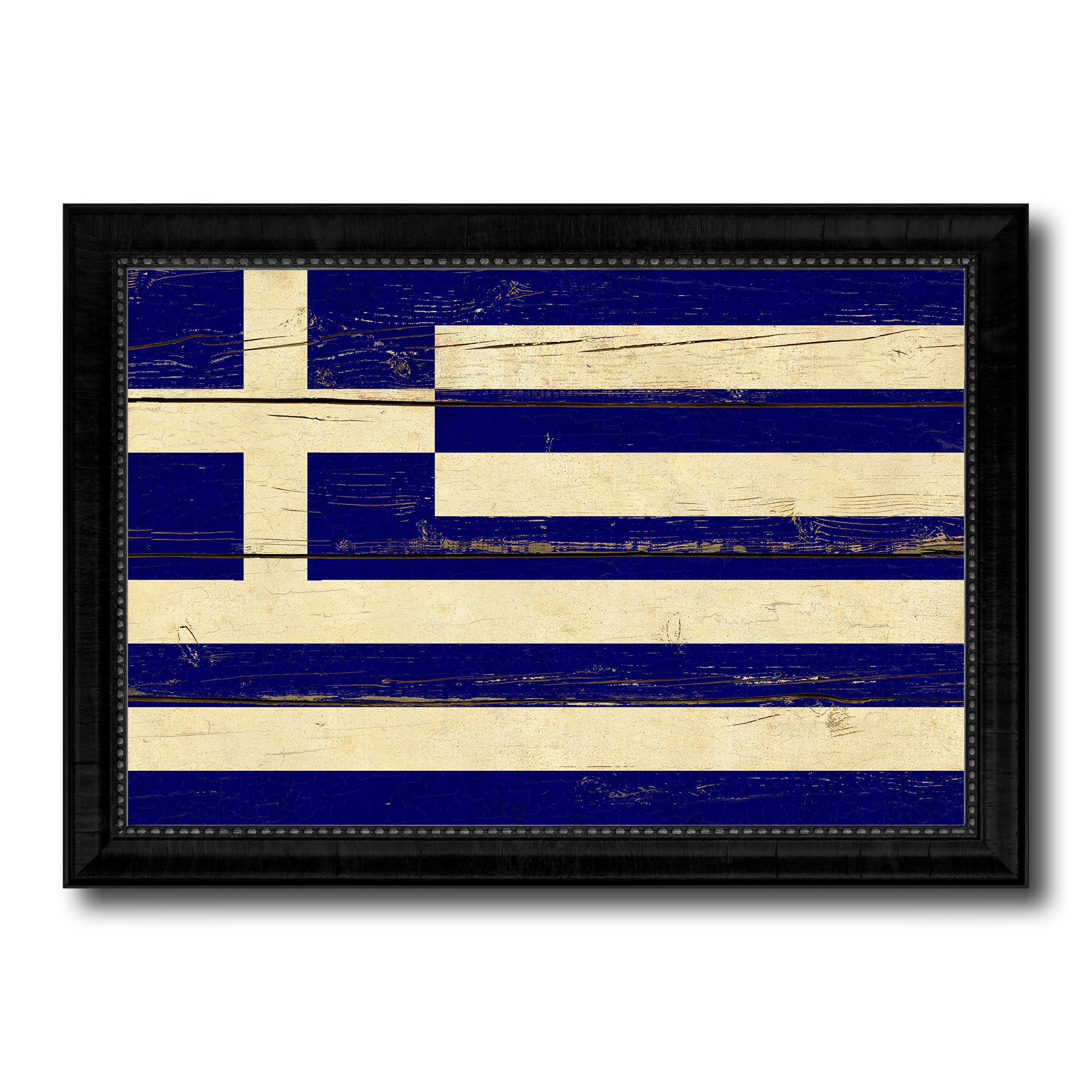 Greece Country Flag Vintage Canvas Print with Black Picture Frame ...