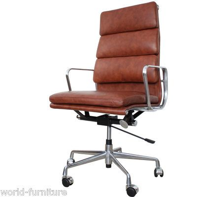 Eames High Back Soft Pad Cognac Brown Leather Office Chair Ea219