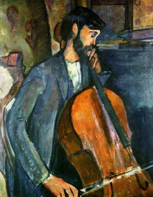 Amedeo Modigliani: Il suonatore di violoncello, 1909,