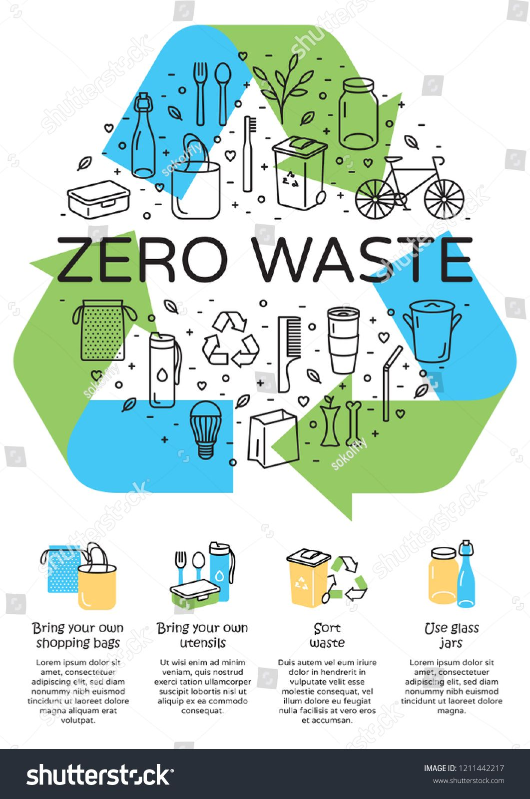 Vector Zero Waste Logo Design Banner Arrow Recycle Sign Poster With Place For Text Color Icon Banner Background No Pl Lingkungan Hidup Desain Poster Poster
