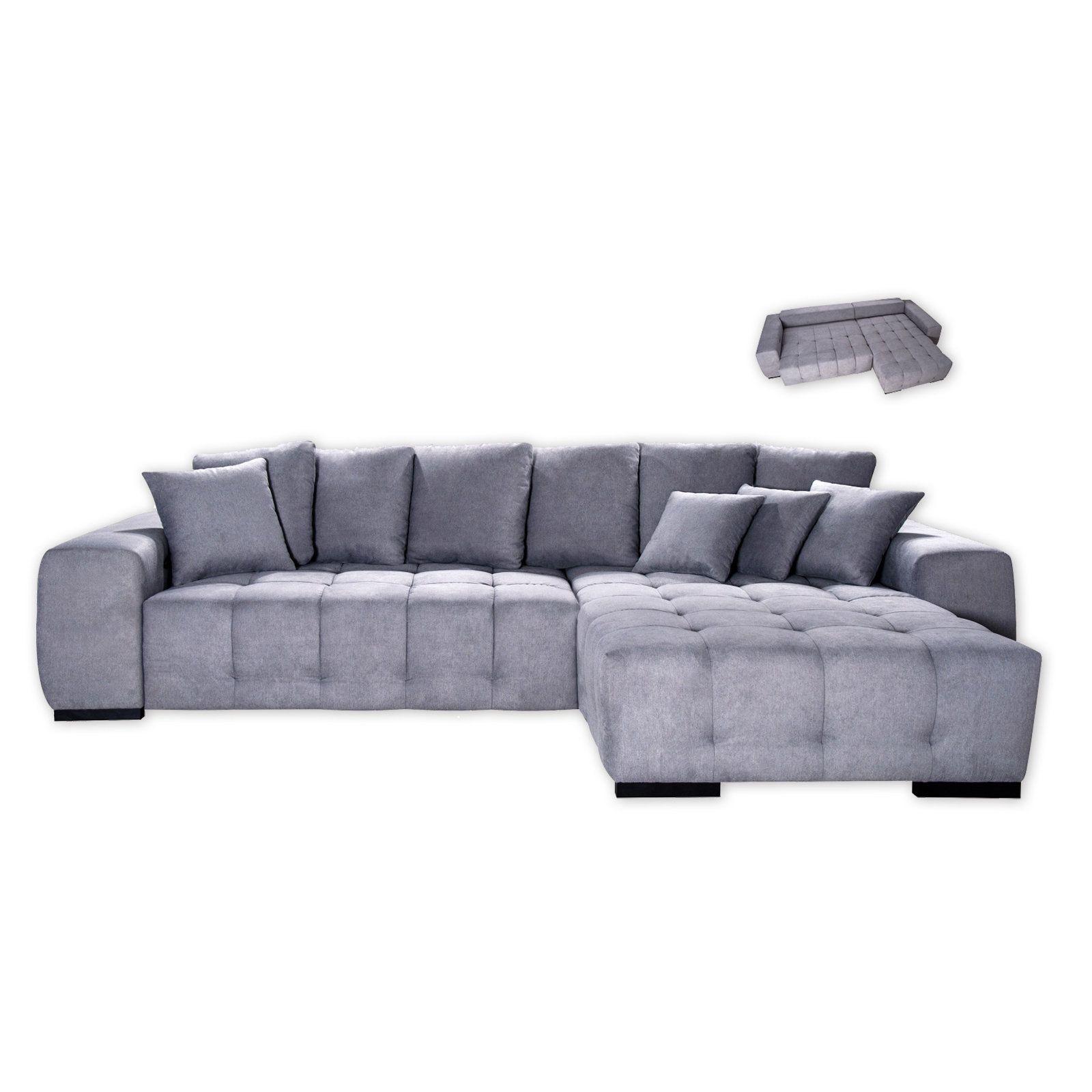 Ecksofa Hellgrau Recamiere Rechts Sitztiefenverstellung Modern Couch Couch Sofa Couch