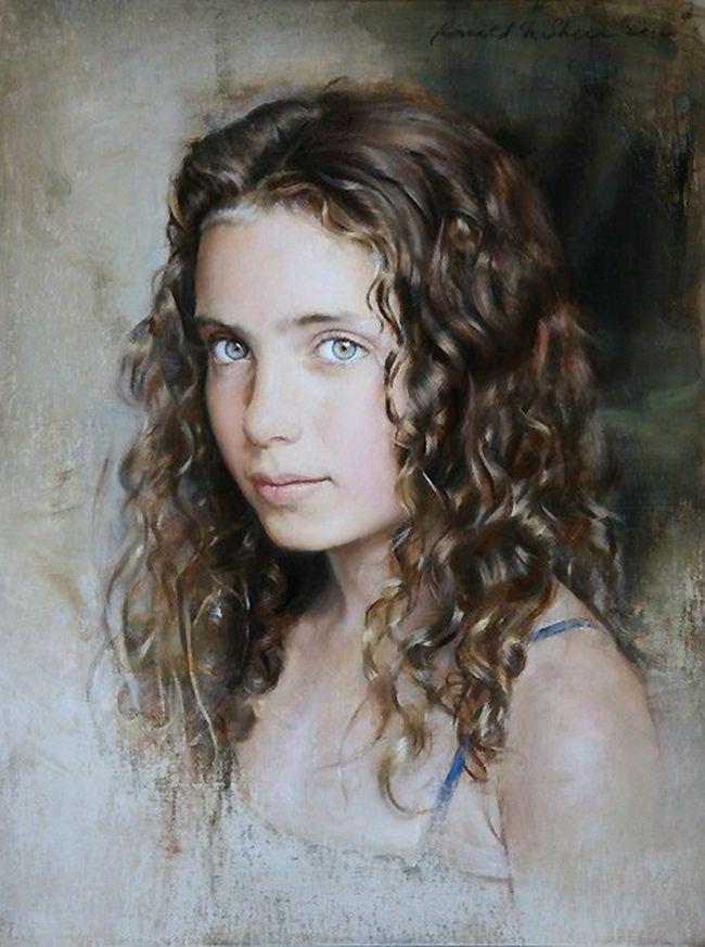Sarah 2 Ronald N Sherr Oil On Panel Contemporary Figurative Art Beautiful Female Girl Head Brunette Curly Hair Chi Portrait Art Portrait Artist Portrait