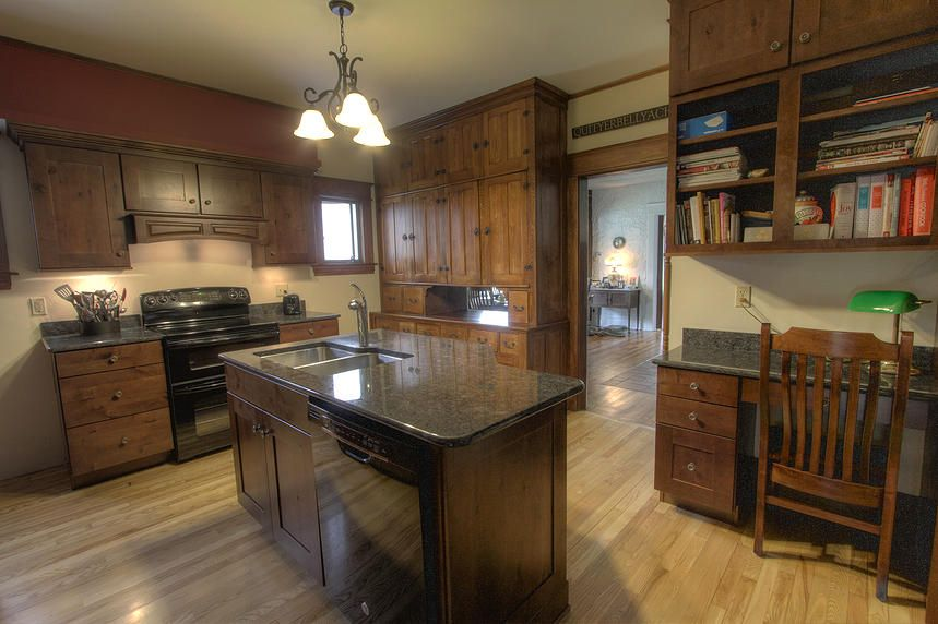 Historical remodel mid continent cabinetry jacobsen door style finish rustic alder - Mid continent cabinets ...