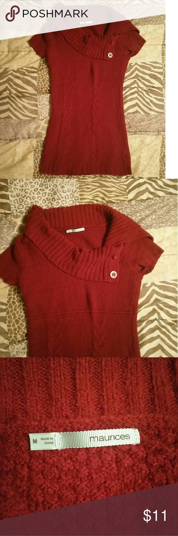 9a17c541696 Sweater dress Adorable sweater dress Red in color Short sleeve with draping  top And buttons on side Brand is Maurices Size M Maurices Dresses