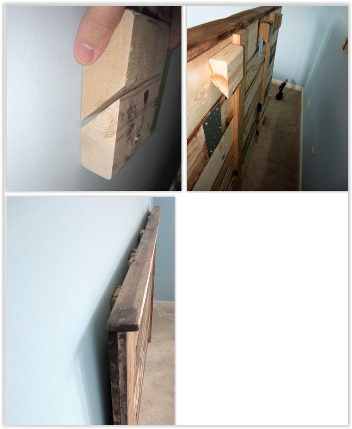 So befestigen Sie ein Kopfteil an einer Wand ... bauen ein Stollensystem zum Aufhängen des Kopfes ...  #aufhangen #bauen #befestigen #einer #kopfes #kopfteil #stollensystem #palletbedroomfurniture