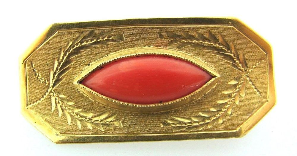 ANTIQUE C1900 VINTAGE 18K YELLOW GOLD CORAL PIN BROOCH STAMPED #uknown