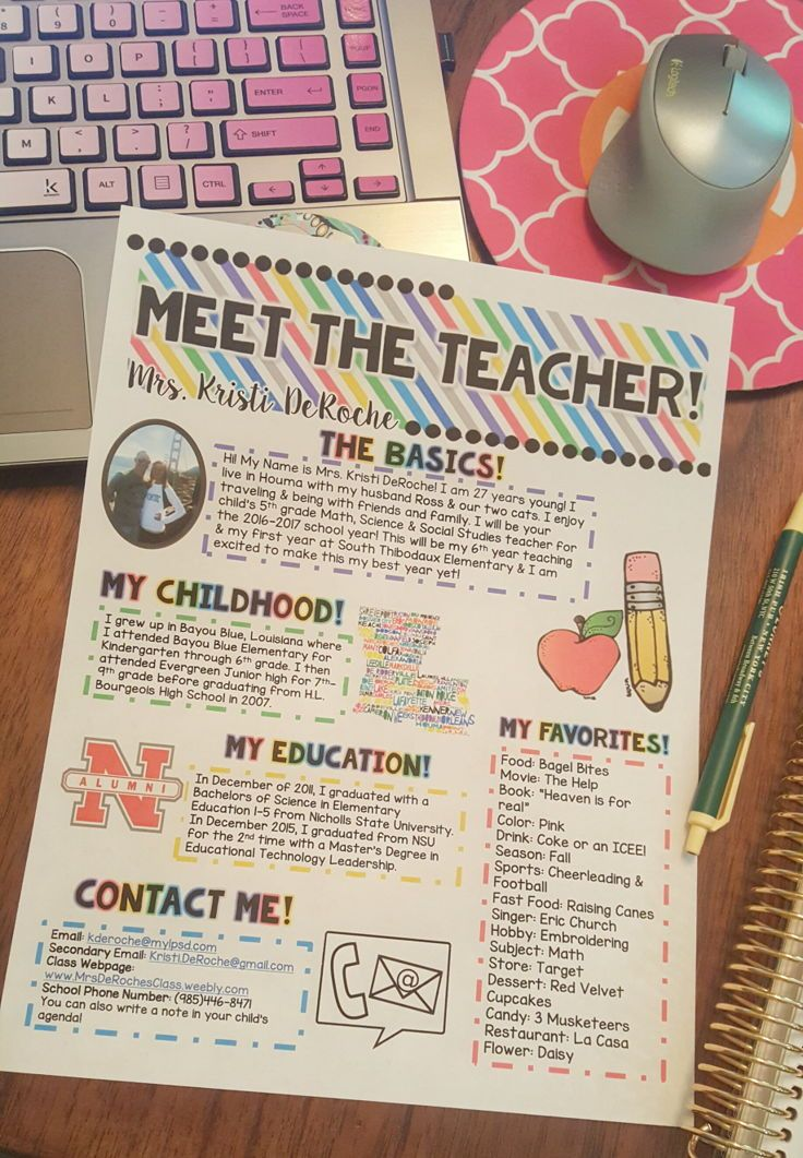 Awesome Meet The Teacher newsletter to hand out at Open