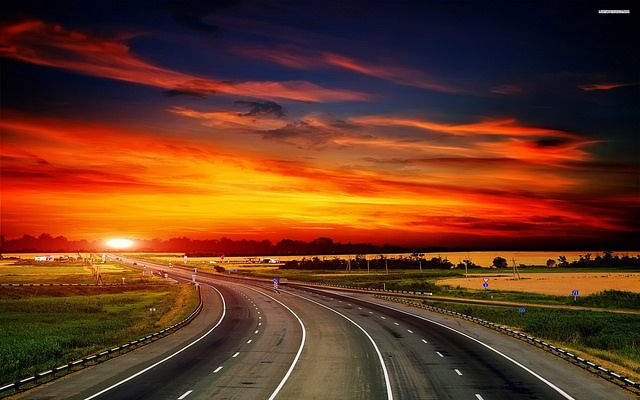 Highway At Dawn Sunset Landscape Sunset Pictures Sunset
