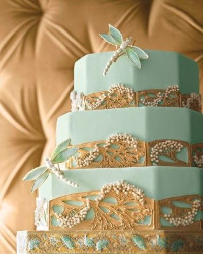 Aqua Gold Art Nouveau Wedding Cake With Dragonflies The Inspiration For Cjs