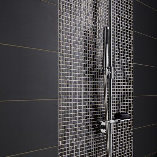 Carrelage Mural Loft En Faience Gris Zingue N 1 20 X 50 2 Cm Carrelage Douche Mosaique Parement Mural Douche Mosaique Noire