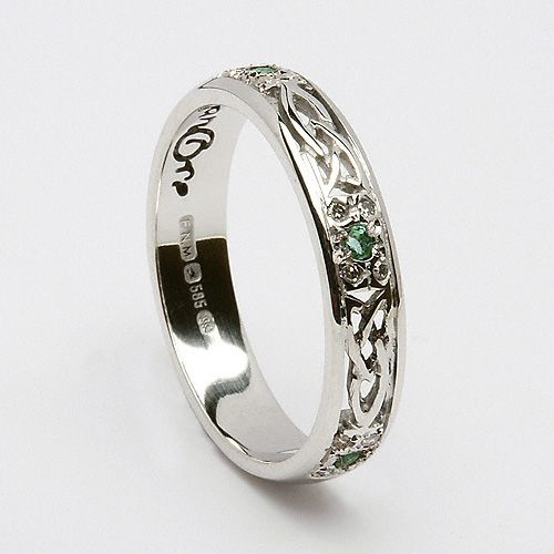 Emerald Trinity Knot Ring Celtic Wedding Rings Vintage Engagement Rings Beautiful Jewelry