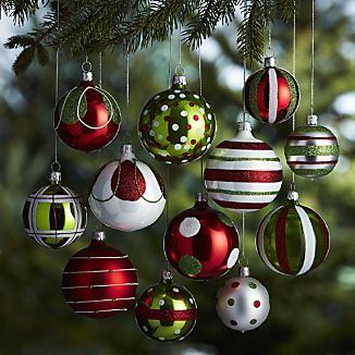 Decorating Christmas Balls Glass Set Of 12 Red And Green Ornaments  Christmas Decor  Pinterest