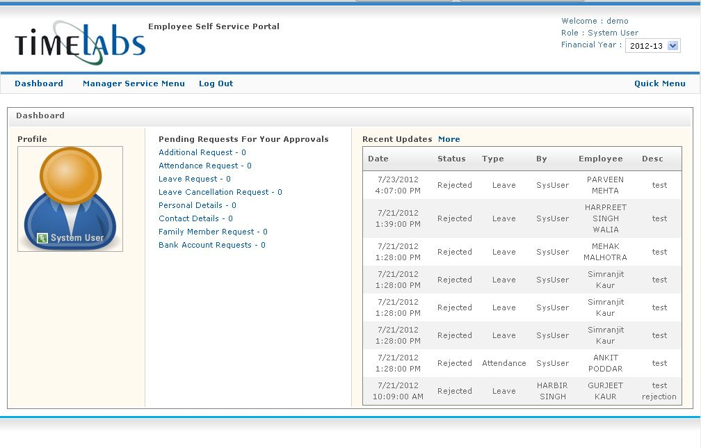 EMPLOYEE SELF SERVICE PORTAL...  The biggest advantage that Employee Self-Service (ESS) brings to any company includes the relief from some of the administrative work that comes with working in the Human Resources Department, as well as putting the accuracy of the information into the hands of the person who knows their information best, @ http://timelabs.in/employee-self-service-portal.html