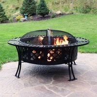 Photo of Diamond Weave Large Patio Fire Pit with Spark Screen, 40 Inch Diameter, by Sunnydaze Decor