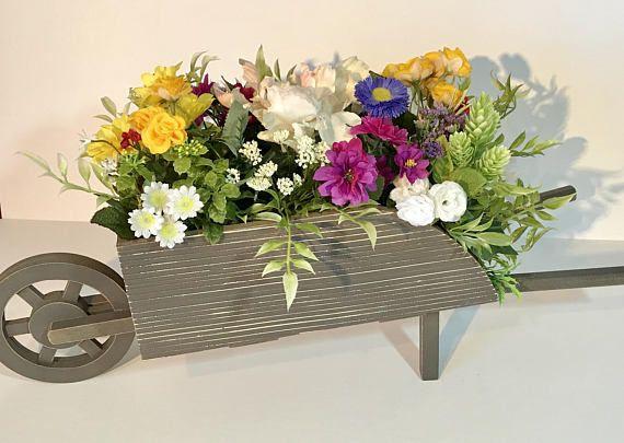 Wooden Wheelbarrow Centerpiece Floral Arrangement Multi