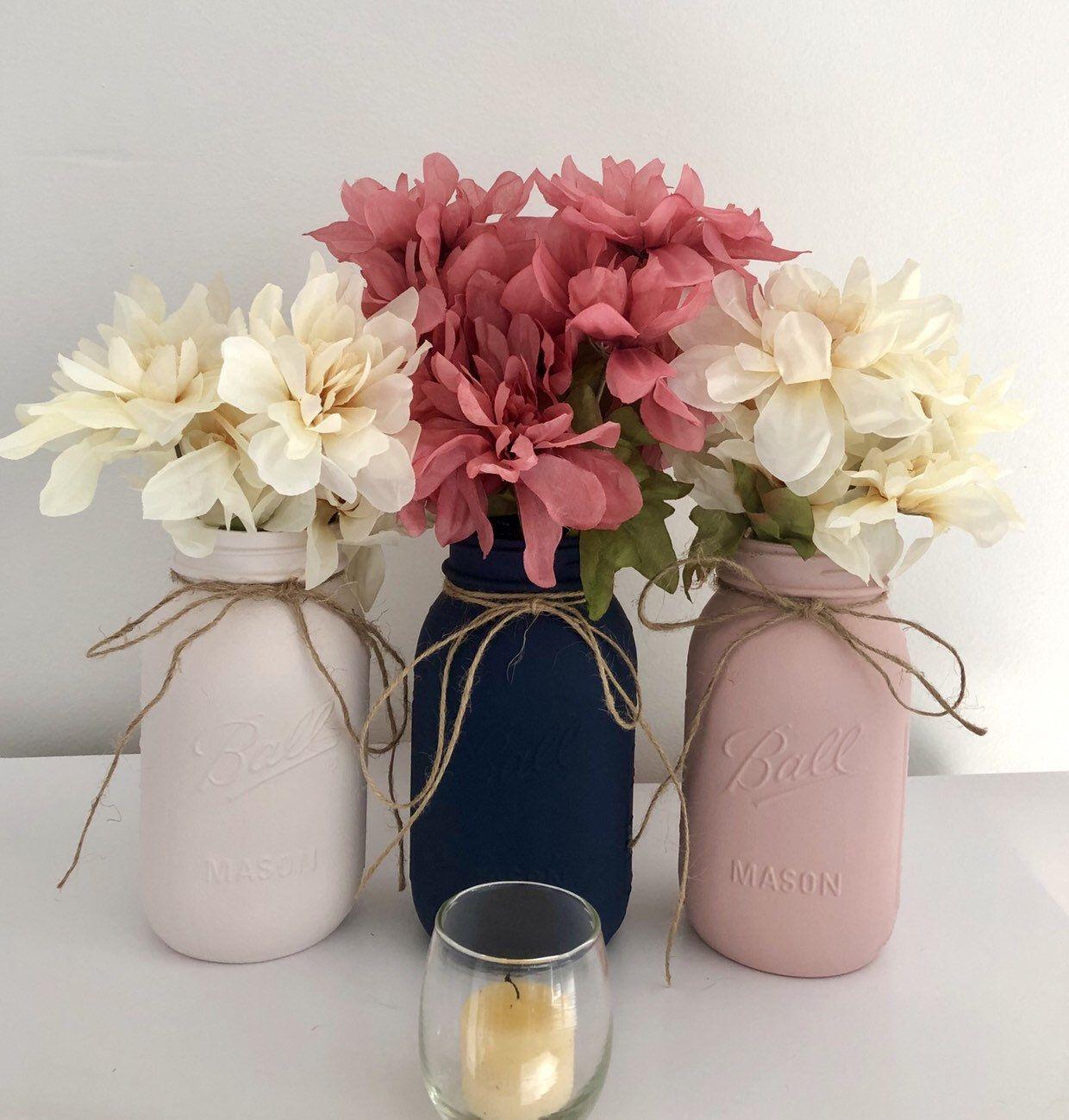 3 Navy And Blush Pink Mason Jar Centerpieces, Navy Blue