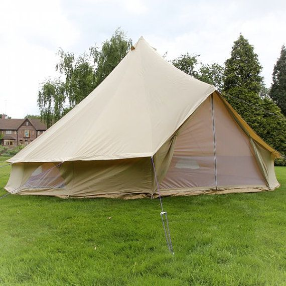 Single Door Xl 7m Sandstone Bell Tent Single By Boutiquecamping 849 00 Canvas Bell Tent Bell Tent Family Tent Camping
