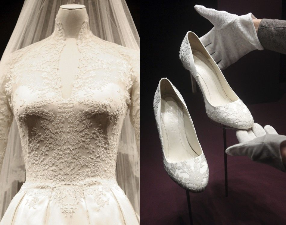 A Close Up Of Princess Kate S Wedding Dress And The Shoes She Wore
