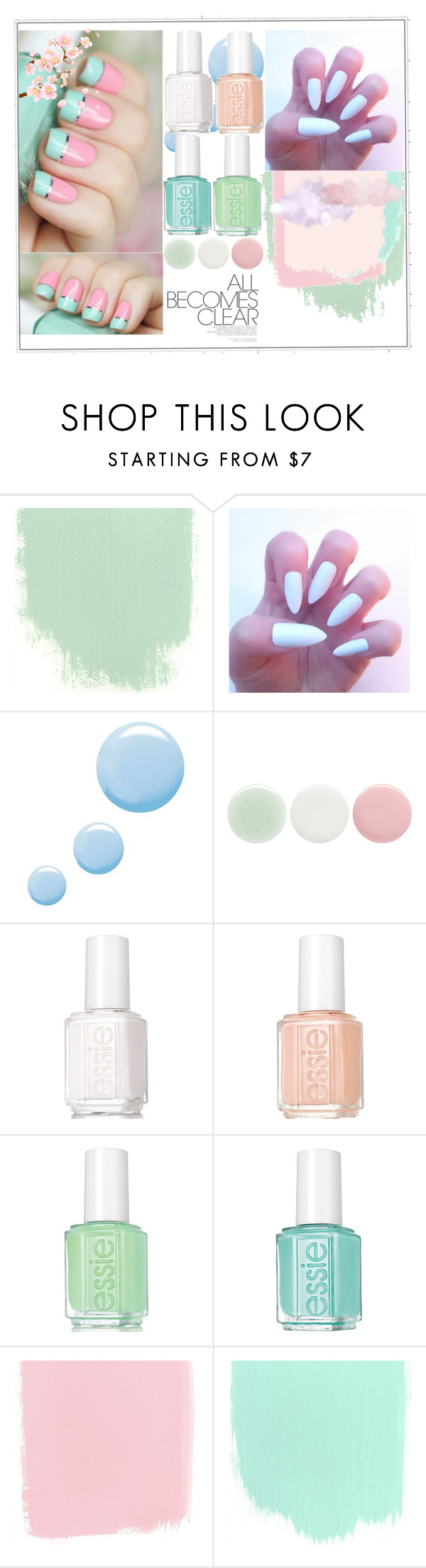 """Pastel Nails II"" by blushingfreckles ❤ liked on Polyvore featuring beauty, Butter London, Topshop, Nails Inc. and Essie"