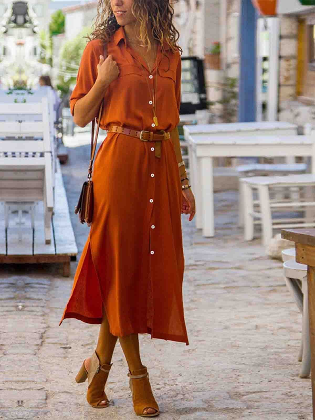 Woman Elegant Long Dress Casual 3 4 Sleeve Shawl Collar Casual Dress Elegant Dresses Long Long Dress Casual Boho Sleeveless Dress [ 1600 x 1200 Pixel ]