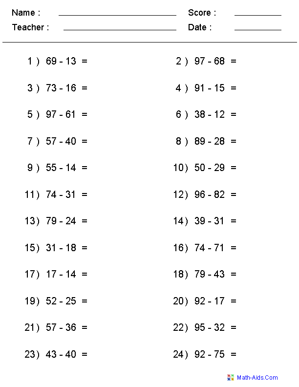 Single Or Multi Digit Subtraction  Simple Math    Math