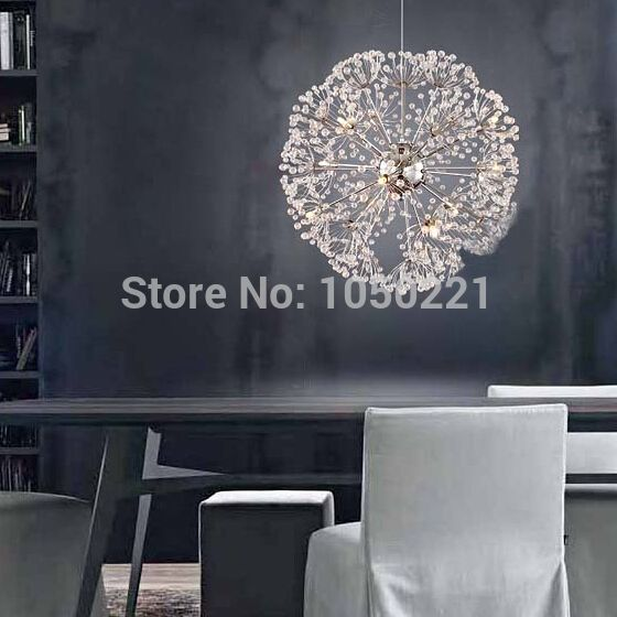 Pendant Lamp Modern European Creative K9 Crystal Dandelion Flowers Ball Dining Room Light Dia