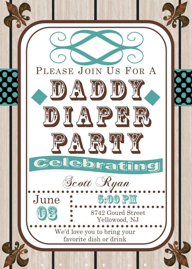 Diaper Party Invitations For Men Diaper Party Invitations Diaper Parties Diaper Invitation Template
