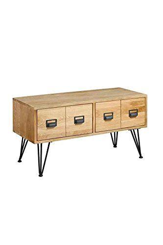MY-Furniture - Mueble de TV industrial de roble macizo y acero ...