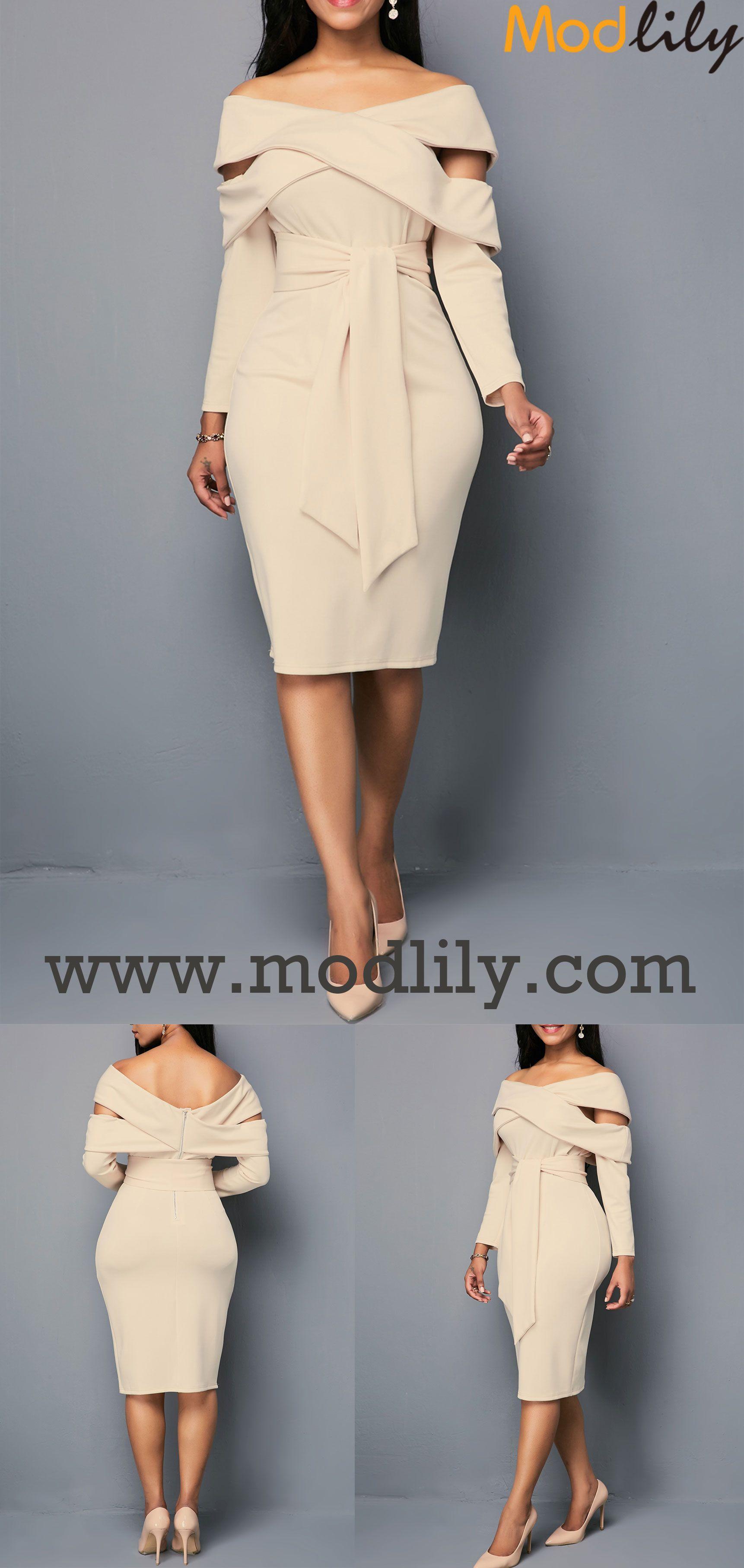 Zipper back light khaki belted sheath dress in dresses