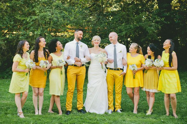 Retro woodsy mountain wedding elisabeth mike yellow weddings the ladies picked out their own dresses some even hand dyed their dresses to be the perfect shade of yellow and elisabeths men of honor wore super junglespirit Images
