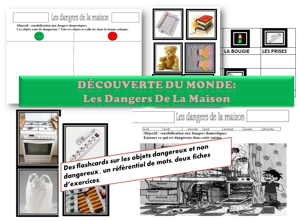 maternelle ms gs decouverte du monde les dangers domestiques laclassedelena cole pompiers. Black Bedroom Furniture Sets. Home Design Ideas