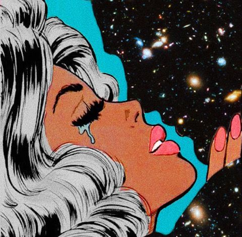 love retro galaxy pop art edit by Jesse Uli #retropop