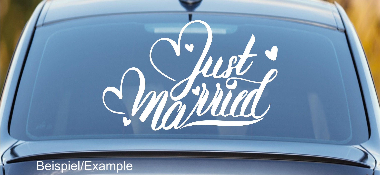 Just Married 03 Autotattoo In Wunschfarbe Hochzeitsaufkleber Hochzeitsdeko Hochzeitsdekoration Hand Lettering Handlettering Hochzeit Aufkleber Hochzeitsaufkleber Hochzeitsdeko