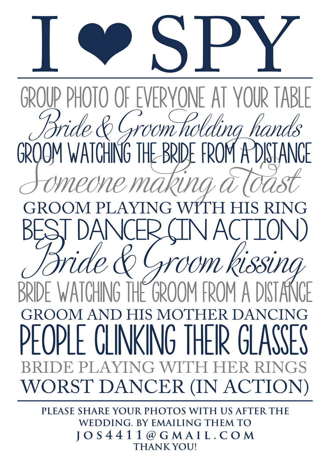 i spy wedding template - Google Search | for one day...when my ...