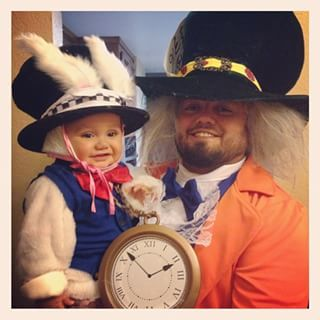 The White Rabbit and Mad Hatter. | 30 Parent And Child Costume Ideas To Steal This Halloween